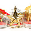 Christmas ornaments and candles — Stock Photo