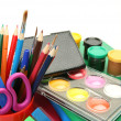 Color pencils and paints — Stock Photo #26881429