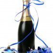 New Year's ornaments and champagne — Stok fotoğraf