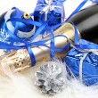 New Year's ornaments and champagne — Stock Photo #26881693