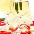 Petals of tulips and wine — Foto de Stock