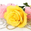 Foto de Stock  : Yellow rose and candles