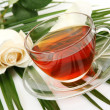 Tea and rose — Stock Photo