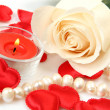 Stock Photo: Rose and candles