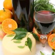 Wine and fruits with cheese — Stockfoto