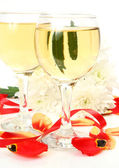 Petals of tulips and wine — Stock Photo