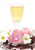 Wine and flowers — Stock Photo