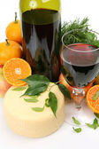 Wine and fruits with cheese — Stock Photo