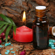 Stock Photo: Aromatic oil and candles