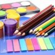Stock Photo: Paints for drawing and color pencils