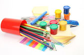 Paints for drawing and color pencils — Stock Photo