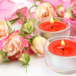 Rose and burning candles — Stock Photo