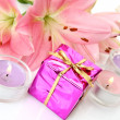 Pink lilies and gifts — Stock Photo #29976269