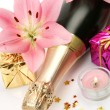 Champagne and pink lilies — Stock Photo #29976271