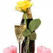 Champagne and yellow rose — Stockfoto