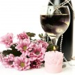 Champagne and flowers — Stok fotoğraf