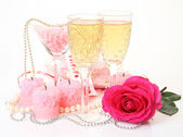 Champagne and candles — Stock Photo