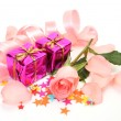 Box with a gift and rose — Stok fotoğraf