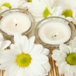 Stock Photo: Candles and flowers