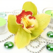 Stock Photo: Yellow orchid and candles