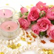 Bouquet of roses and candles — Stock Photo #31048071