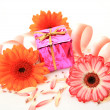 Box with a gift and flowers — Stock Photo #31048355