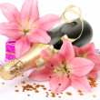 Champagne and pink lilies — Stock Photo #32393463