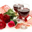 Wine and flower — Stockfoto