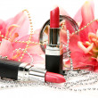 Lipstick and flower — Stockfoto