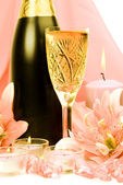 Wine and lilies — Stock Photo