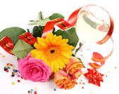 Wine and fine roses — Stock Photo
