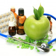 Apple, medicine and stethoscope — Stock Photo