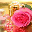 Pink rose and candles — Stock Photo #35546955