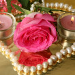 Pink rose and candles — Stock Photo #35546971