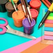 Color pencils and paints — Stock Photo #35578973