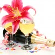 Stock Photo: Wine and pink lily