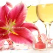 Wine and pink lily — Stock Photo #35579067