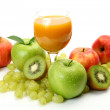 Ripe fruits and juice — Stock Photo #35579457