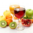 Ripe fruits and juice — Stock Photo #35579501