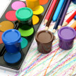 Color pencils and paints — Foto Stock