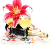 Wine and pink lily — Stock Photo