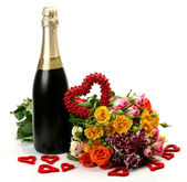 Champagne and roses — Stock Photo
