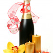 Champagne and flowers — Stock Photo