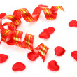 Streamer and hearts — Stock Photo