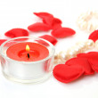 Burning candle and heart — Stock Photo