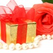 Stock Photo: Box with a gift and rose