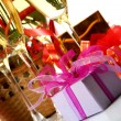 Wine and gift boxes — Stock Photo