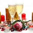 Stock Photo: Wine and rose
