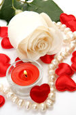 Fine rose and scarlet hearts — Stock Photo