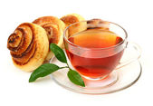Appetizing roll and tea — Stock Photo